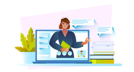 Online education concept with confident female tutor, laptop screen, plant, books. Video conference illustration with young teacher and her student. E-learning banner in flat style.