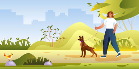 Summer park view with young female character walking her dog. Vector illustration with smiling girl and her Doberman pet. Outdoor activity concept with trees, bushes, cityscape, friends and bird.