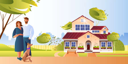 Real estate concept with husband, wife, dog, cityscape, backyard, green trees. Building exterior illustration with home for sale. Vector background with young family standing near new house Ilustração