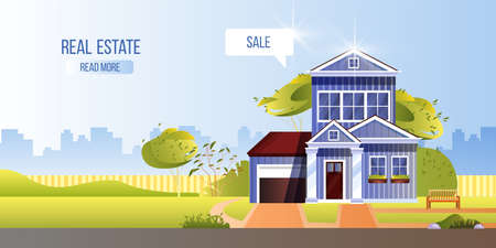 Real estate concept with vintage house, cityscape, backyard, green trees, bench. Rent property background in flat style. Building exterior illustration with home for sale. Ilustração