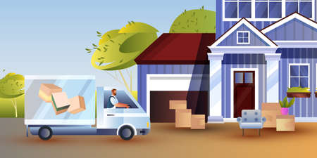 Relocation concept with young male driver in a truck delivering furniture to new home. Vector illustration with building exterior, card boxes, armchair, car. Moving house banner in flat style Ilustração