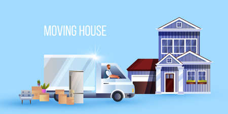 Moving to new home concept with truck, driver, boxes, furniture, building. Shipping service background with delivery person, armchair, refrigerator, vintage house. Vector illustration in flat style