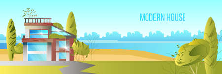 Modern house vector banner with lake, cityscape green trees, building. Horizontal landscape with futuristic architecture, road, river and bushes. Real estate illustration in flat style Illustration