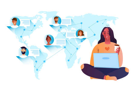 Online chat concept with young girl using laptop to communicate with people around the world. Teamwork background with people avatars, map, speech bubbles, lines and dots, successful freelancer