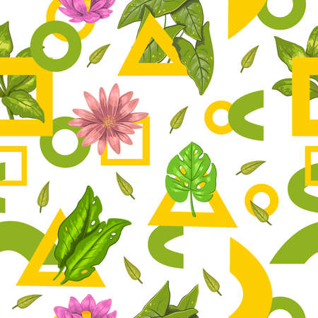Vector seamless stock pattern with tropical exotic leaves and flowers, lotus, monstera with geometrical shapes on white. For wrapping paper, apparel, wedding design and invitation cards.
