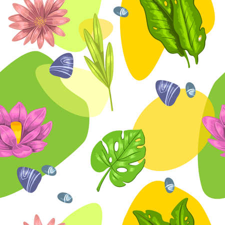 Stock seamless pattern. Vector tropical background with lotus, monstera and stones with abstract shapes on white. For wrapping paper, apparel, invitation cards, eco and care products.