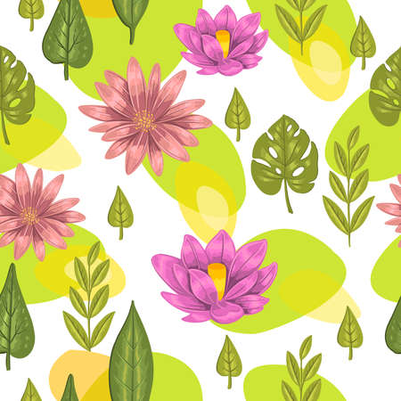 Stock seamless pattern with lotus and monstera leaves. Vector modern background for organic cosmetics shops, wrapping paper and apparel.