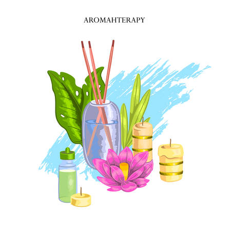 """Vector hand drawn stock concept """"Aromatherapy"""" with candles, lotus flowers, leaves, salt, aroma sticks and brushstrokes. Colorful spa composition for beauty salons, organic shops, wellness centers. Vettoriali"""