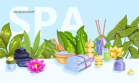 """Vector hand drawn horizontal banner """"Spa"""" with towel, candles, lotus flowers, leaves, bath salt, aroma sticks. Tropical concept for beauty salons, organic shops, wellness centers."""