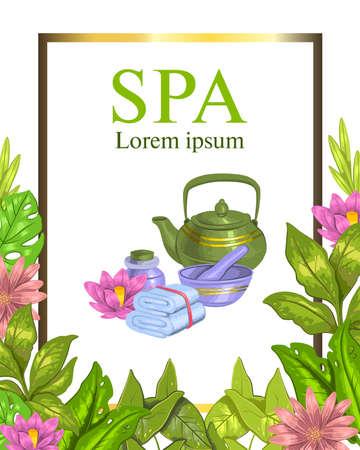 Cadre de spa dessiné à la main de vecteur avec théière, serviette, lotus, feuilles et fleurs tropicales. Concept coloré pour centres de spa, zones de détente, instituts de beauté, centres de bien-être. Vecteurs