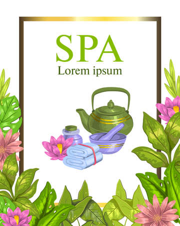 Vector hand drawn spa frame with tea pot, towel, lotus, leaves and tropical flowers. Colorful concept for spa centers, relax zones, beauty shops, wellness centers.
