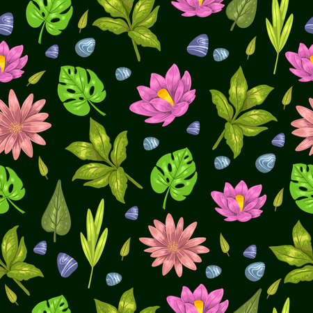 Vector floral stock seamless pattern with tropical leaves, pebbles and flowers on the black background. Hand drawn background for wallpaper, apparel, wrapping, foliage, etc.