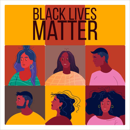 Square abstract banner with black American citizens' avatars. Black lives matter concept with young men and women in cartoon flat style. No racism concept with multinational people