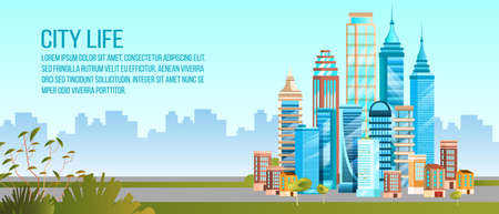 City life background in flat style with modern buildings, cityscape, copy space. Urban landscape with skyscrapers, houses, green bushes. Downtown office center concept in blue colors