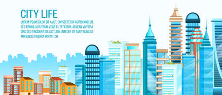 Real estate banner with skyscrapers, cityscape, old houses. Urban landscape with modern architecture and copy space. City life background in flat style with downtown office complex.  Illustration
