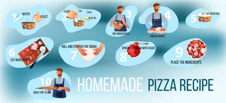 Italian homemade pizza cooking instructions with ingredients, bearded chef, apron, dough, yeast. Culinary vector illustration in flat style and blue colors with smiling man, flour, cutting board Stock Illustratie
