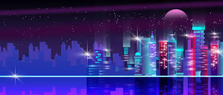 Neon city background with night sky, stars, moon, skyscrapers, illuminated buildings, water reflection. Horizontal urban cityscape with modern architecture and copy space. Cyberpunk banner in violet