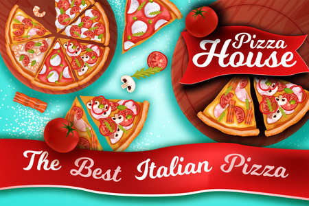 The best Italian pizza banner in realistic style with pepperoni slices, margherita, tomato, mozzarella, red ribbon. European food top view with tasty lunch, cutting board, bacon, champignon.