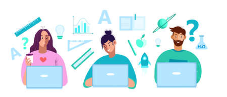 Online education concept in flat style with young cheerful female and male students, laptops, science icons. E-learning vector illustration with man, women, rulers, rocket, book, planet, bulb, letters