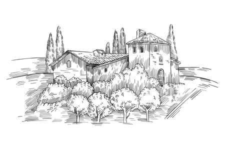 Italian farm country landscape with vintage house, vineyard, cypress. Italy vector illustration with Tuscany view in engraving style isolated on white. Rural black and white sketch clipart
