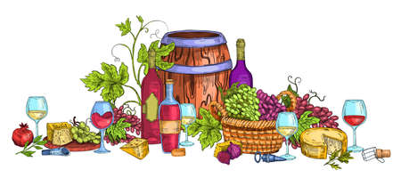Italian wine illustration with cheese, grapes, vine, cask, glasses, corks, basket. Food and drink vector concept in engraving style isolated on white. Harvest still life with alcoholic beverages