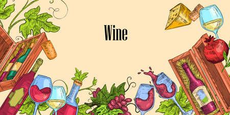 Wine sketch illustration with cheese, vine, glasses, grape, bottles. Vector hand drawn Italian food and drink concept with pomegranate, boxes, leaves, corks, copy space. Alcoholic beverages banner