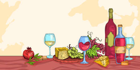 Wine sketch illustration with cheese, vine, glasses, grape, wooden board, bottles, corks, pomegranate. Italian beverages and appetizers background in engraving vintage style with green leaves Ilustracja