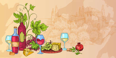 Italian wine sketch illustration with cheese, glasses, vines, grapes, bottles. Food and drink vector background with rural landscape, autumn still life. Alcoholic beverages hand drawn banner 矢量图像