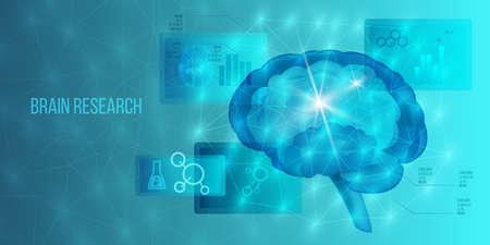 Brain neurosurgery concept with MRI scan, neurons system, healthcare icons, infographic elements. Scientific banner in blue colors with polygon background. Medical hologram vector illustration Векторная Иллюстрация