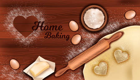 Home bakery concept with dough, rolling pin, flour, butter, egg on wooden table background. Vector culinary flat lay with heart shaped cookies, bowl in realistic style. Pastry making ingredients Illusztráció