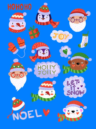Christmas characters vector set with penguin, elfs, snowman, Santa, polar bear in costumes, hats and scarfs. Cute stickers for holiday souvenirs, invitations, gifts, etc.