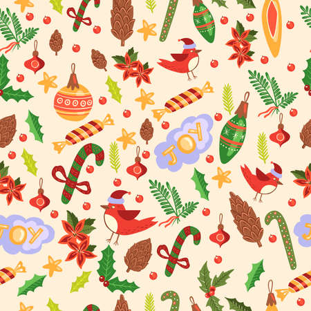 Christmas vector seamless pattern with candy cane, bullfinch, poinsettia, decorations, flowers, cones, mistletoe, rowan and stars. New 2021 texture with toys, clouds, green leaves  イラスト・ベクター素材