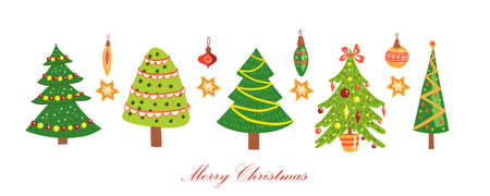 Christmas tree vector icon collection with decorated firs, garlands, stars, toys isolated on white. Happy New 2021 Year winter set with green holiday spruces. Colorful noel postcard  イラスト・ベクター素材