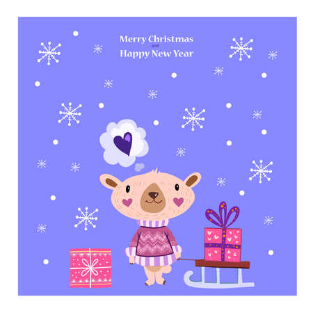 Christmas printable vector Scandinavian postcard design with cute bear, sleigh, snowflakes, boxes, presents on blue background. New Year poster with cute animal in cartoon style  イラスト・ベクター素材