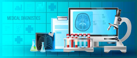Medical checkup healthcare background with MRI scan, lung x-ray image, computer screen, test tubes with blood. Hospital analysis concept in realistic style with microscope, blue abstract icons. Vecteurs