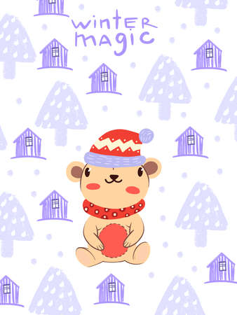 """Christmas """"Winter Magic"""" vector background with cute teddy bear in scarf and hat in Scandinavian style. Postcard illustration with pink houses and trees on white background."""