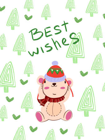 """Christmas winter vector illustration in Scandinavian style """"Best Wishes"""". Cute poster with bear in red Christmas hat and scarf. Green trees and hearts on the background. Print, postcard, greeting card Ilustracja"""