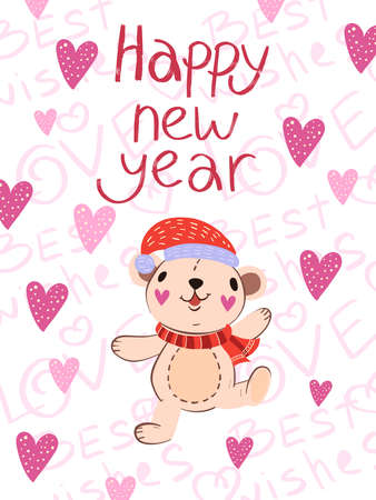 Happy New Year vector winter postcard in Scandinavian style. Cute poster with funny dancing bear in red Christmas hat and scarf. Hearts and lettering on the background. Print, postcard, greeting card