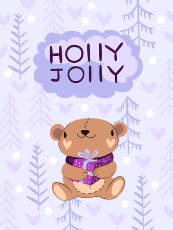 """Christmas vector illustration in Scandinavian style """"Holly Jolly"""". Cute winter poster with brown bear in violet scarf with little gift box. Trees and hearts on the background. For prints, postcards Ilustracja"""