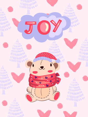 """Christmas winter vector illustration with cute bear in Scandinavian style """"Joy"""". Baby poster with animal in red hat and scarf with trees and hearts on the background. Print, postcard, greeting card Ilustracja"""