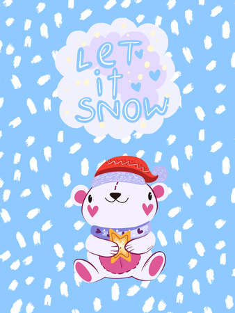 """Vector Christmas winter illustration in Scandinavian style """"Let It Snow�. Cute poster with white bear in Christmas hat and violet scarf with snowflakes on the background. Print for greeting cards"""