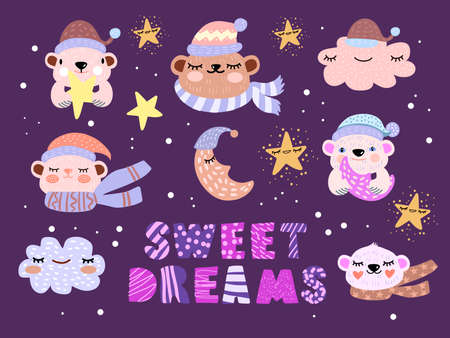 Christmas winter Scandinavian set of icons with sleeping moon, bears, stars, hats, scarfs, lettering. Simple x-mas holiday kids' illustration on purple background. Winter Nordic postcard