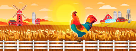 Farm vector landscape with cock, sun, wheat field, fence, mill, village buildings. Peaceful rural illustration with mill, water tower, greenhouse. Agriculture background in flat style with rooster Illustration