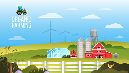 Farm vector landscape with village, field, tractor, wind turbines, greenhouse, barn, blue sky, clouds. Rural illustration in cartoon flat style with green bushes, fence, hills. Farmland background Vector Illustratie