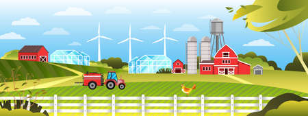 Organic farm vector landscape with village, field, tractor, road, blue sky, wind turbine, greenhouse. Agriculture rural background in flat style with green trees, clouds, hills, fence, country houses Illustration