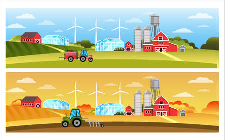 Organic farm vector landscape set with tractor, field, hills, wind turbine, barn, village houses. Autumn and spring countryside rural illustrations in flat style. Farmland eco concept with sky, plow
