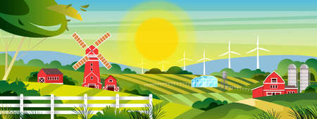 Organic farm vector illustration with sun, green hills, village buildings, fields, mill, wind turbine. Rural panoramic view in flat style with ranch, red houses, fence, greenhouse, barn, tree Illustration