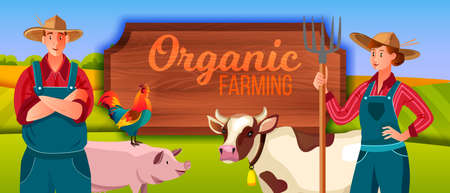Farm vector illustration with woman, man, pig, cow, cockerel, wooden signboard. Agriculture background with farmer, animals, woman holding pitchfork, green hills, young happy couple