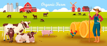 Livestock farm vector landscape with cows, woman farmer, calf, bull, pig, cock, haystacks, barn. Agriculture livestock background in flat style with rural countryside landscape, young woman, pitchfork