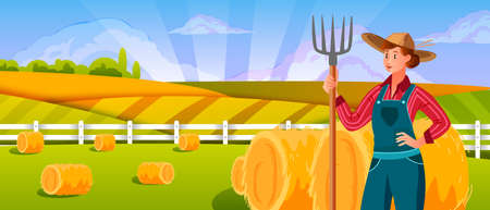 Woman farmer with pitchfork near haystack. Agriculture farming landscape with young woman in hat, green fields, hills, clouds, rays. Rural countryside background in flat style with female character 向量圖像